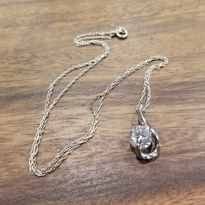 925 Silver Chain with a Silver Crystal Pendant